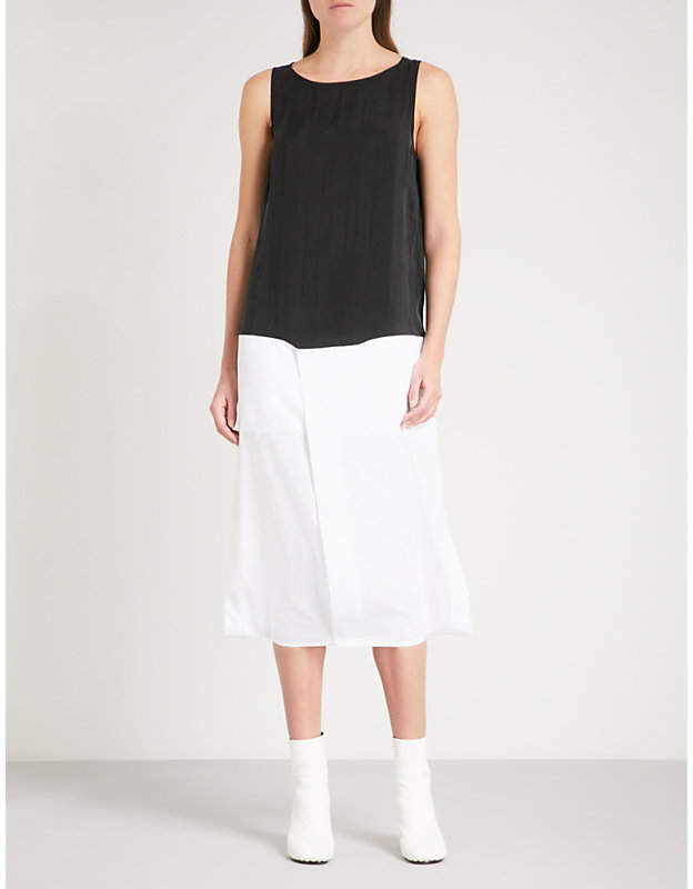 Maison Margiela Contrast-hem sleeveless cotton and woven dress