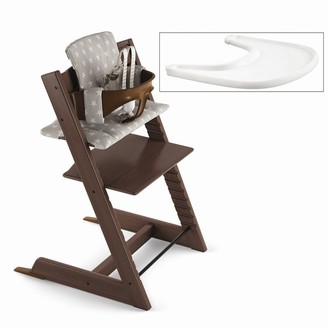 Stokke Tripp Trapp High Chair Complete Walnut with Grey Stars and Tray