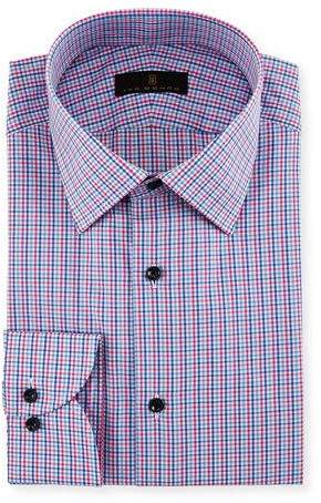 Ike Behar Gold Label Micro-Check Cotton Dress Shirt, Blue/Pink