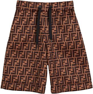 Fendi Boy's FF-Print Drawstring Shorts, Size 8-14