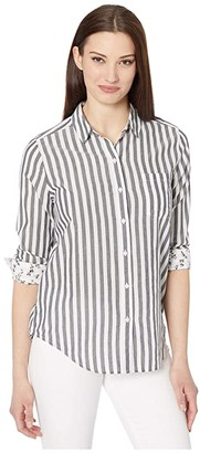 Lucky Brand Long Sleeve Button-Up Striped Classic One-Pocket Shirt (Navy Multi) Women's Clothing