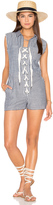 Lucca Couture Lace-Up Cut-Off Romper