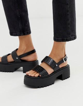 Asos Design DESIGN Finalist chunky flat sandals in black patent croc