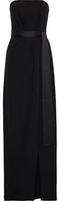 Halston Strapless Satin-trimmed Pleated Crepe Gown