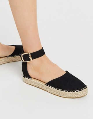 Truffle Collection two part espadrille shoes in black