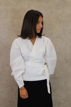 Maison Labiche Crossover Blouse - XS | cotton | white - White/White