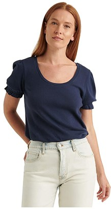 Lucky Brand Short Sleeve Scoop Neck Knit Underpinning Top (American Navy) Women's Clothing