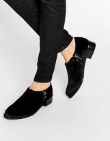 Office Flex Side Zip Velvet Flat Shoes