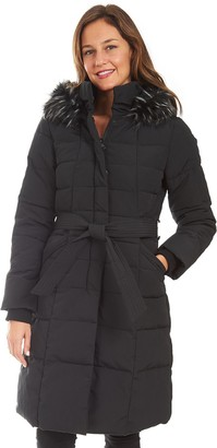 Fleet Street Women's Long Faux Down Quilted Coat