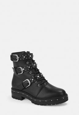 Missguided Black Faux Leather Stud Strap Biker Boots