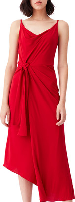 Diane von Furstenberg Amy Cowl-Neck Knotted Asymmetric Midi Dress