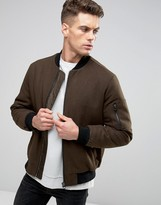 Asos Wool Mix Bomber Jacket With MA1 Pocket In Dark Khaki