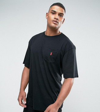 Polo Ralph Lauren big & tall player logo crew neck t-shirt in black