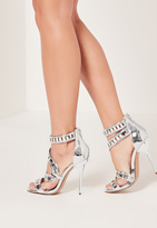 Missguided Wrap Around Lazer Cut Metallic Heeled Sandal Silver