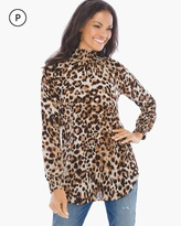 Chico's Cheetah Chic Mock-Neck Top