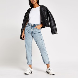 River Island Womens Petite light Blue Mom high rise jeans