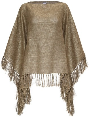 Brunello Cucinelli Fringed Metallic Knit Poncho