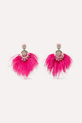 Ranjana Khan Gold-tone, Feather, Mother-of-pearl And Crystal Clip Earrings - Pink