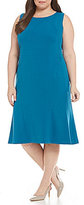 Kasper Plus Solid Stretch Crepe Fit-and-Flare Dress