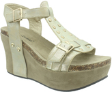 Pierre Dumas Gold Distressed Ester Buckle Sandal