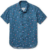 The Elder Statesman Camp-collar Printed Cotton-gauze Shirt - Petrol