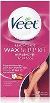 Veet Ready To Use Wax Strips Legs & Body 40 ea (Pack of 2)