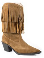 Roper Tan Suede Fringe Pointed Cowboy Boot - Women
