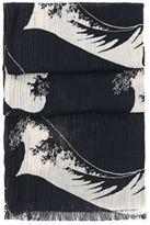 Hugo Boss Nautilus Cotton Wave Crinkled Scarf One Size Blue