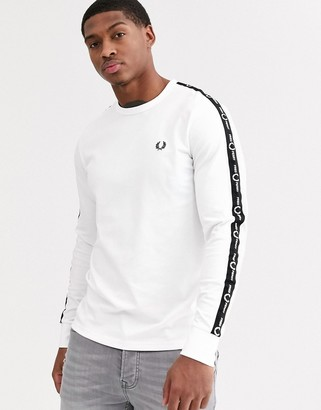 Fred Perry long sleeve t-shirt with side taping in white