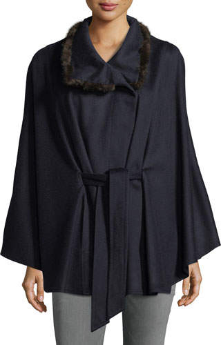 Sofia Cashmere Cashmere Cape w/ Cross Cut Mink Fur Collar