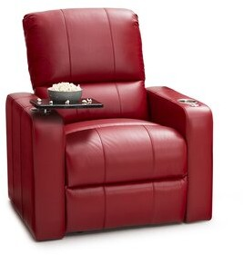 Latitude Run Monteith Genuine Leather Power Recliner Upholstery Color: Red
