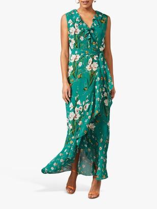 Phase Eight Sofia Floral Print Maxi Wrap Dress, Pine Green/Multi