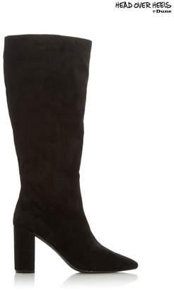 Head Over Heels Womens Block Heel Under Knee Boots - Black