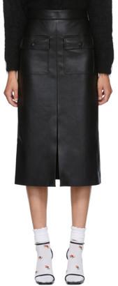MSGM Black Faux-Leather Pocket Skirt