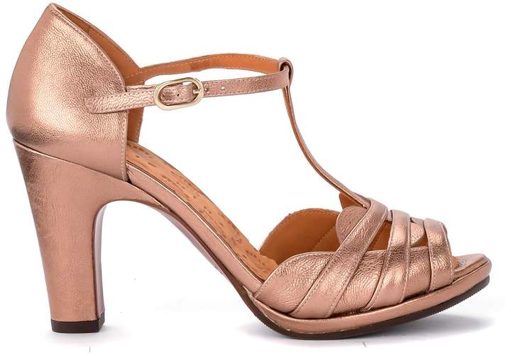 428ed6f4d6a Aloe Metal Peach Pink Leather Heeled Sandal.
