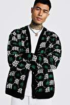 BoohoomanBoohooMAN Mens Green Oversized Gothic M All Over Print Knitted Cardigan, Green