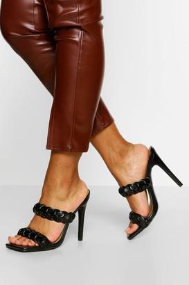 boohoo Woven Double Strap Stiletto Heel Mules