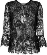 Monique Lhuillier sheer lace blouse