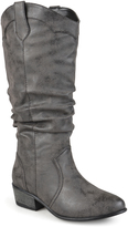 Journee Collection Black Drover Slouch Wide-Calf Boot