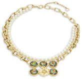 Gerard Yosca Headlight Stone Simulated Pearl Floral Nested Necklace
