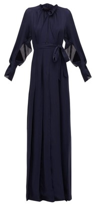 Roland Mouret Evora Pintucked Silk-chiffon Wrap Dress - Navy