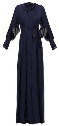 Roland Mouret Evora Pintucked Silk-chiffon Wrap Dress - Womens - Navy