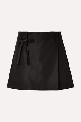 Prada Bow-embellished Silk-satin Wrap Mini Skirt - Black