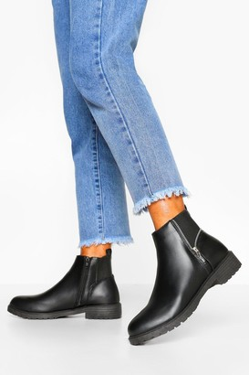 boohoo Wide Fit Zip Side Detail Chelsea Boots