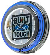 Ford 3 in. x 14 in. Built Tough Chrome Double Rung Neon Wall Clock
