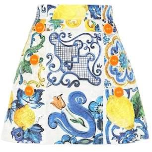 Dolce & Gabbana Printed cotton and silk miniskirt