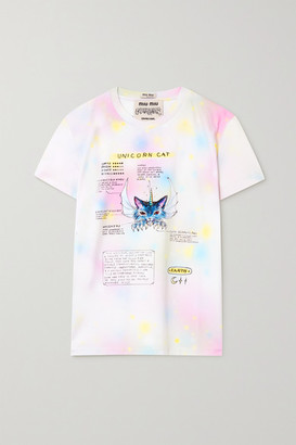 Miu Miu Guardians Printed Tie-dyed Cotton-jersey T-shirt - White