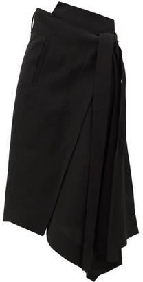 Petar Petrov Roxanne Asymmetric Midi Wrap Skirt - Black
