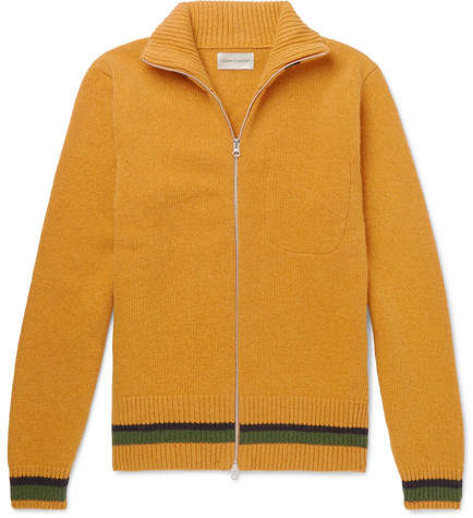 Oliver Spencer Stripe-Trimmed Wool Zip-Up Cardigan