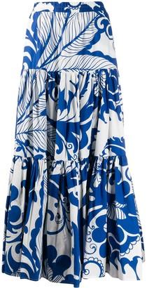 La DoubleJ x Mantero Marea Blu print flared skirt